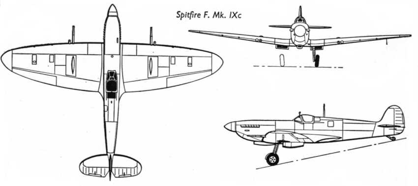 22k bw from war planes of the second world war fighters vol2 3 view drawing of the spitfire mkixc